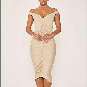 Meshki Siya Ruched Off The Shoulder Dress